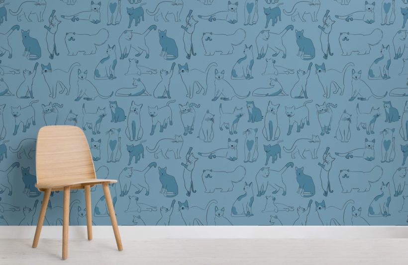 Blue Cool Cat Pattern Wallpaper Mural