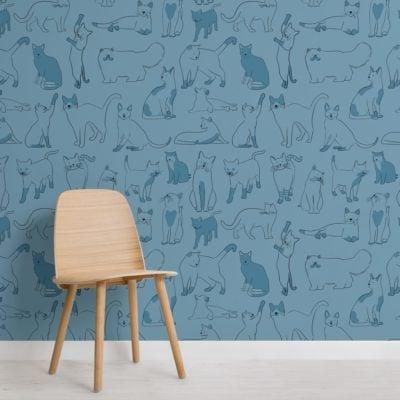 Blue Cool Cat Pattern Wallpaper Mural