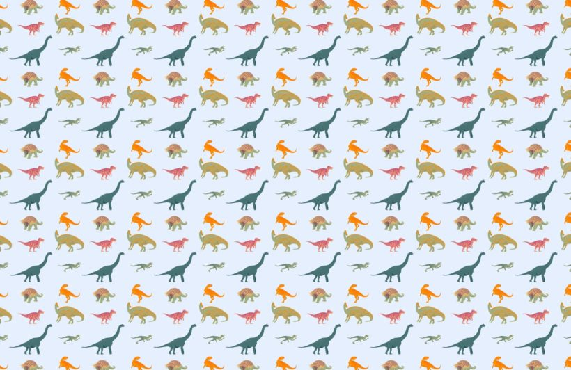 Blue Dinosaur Pattern Wallpaper Mural