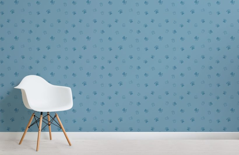 Blue Dog Paw Print Pattern Wallpaper Mural