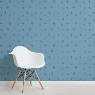 Blue Dog Paw Print Pattern Wallpaper Mural