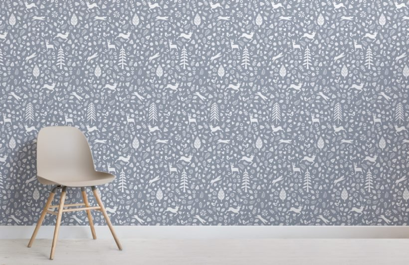 Blue Festive Pattern Scandinavian Folk Art Wallpaper Mural