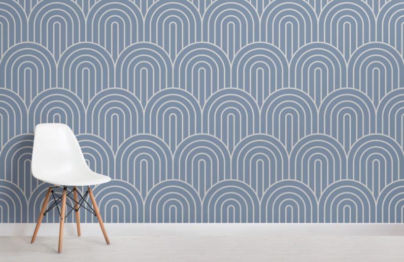Blue Geometric Infinite Loop Striped Wallpaper Mural