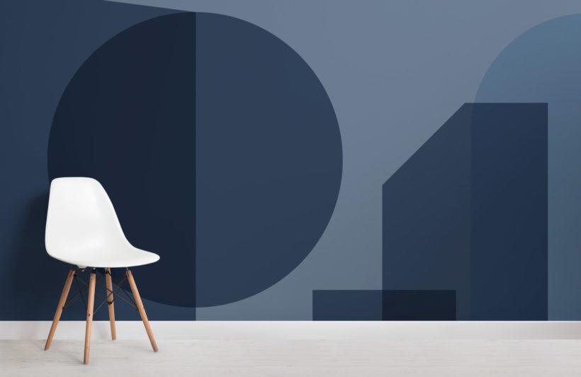 Blue Geometric Shapes Modern Bauhaus Wallpaper Mural