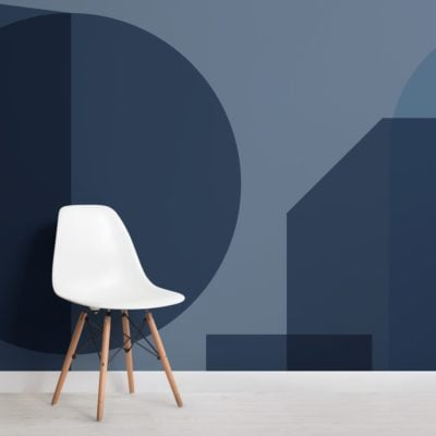 Blue Geometric Shapes Modern Bauhaus Wallpaper Mural