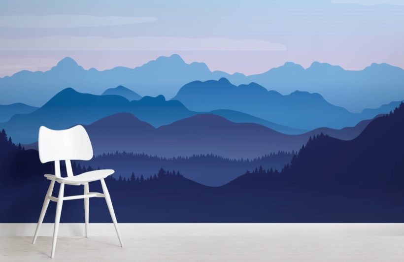 Blue Illustrated Landscape Mountains Wallpaper Mural