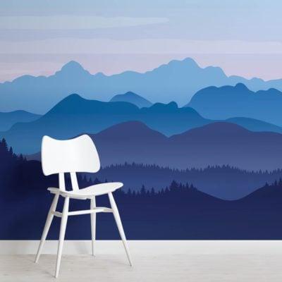 Blue Illustrated Landscape Mountains Wallpaper Mural