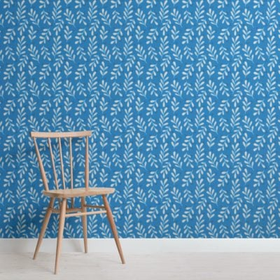 Blue Leaf Pattern Wallpaper Mural