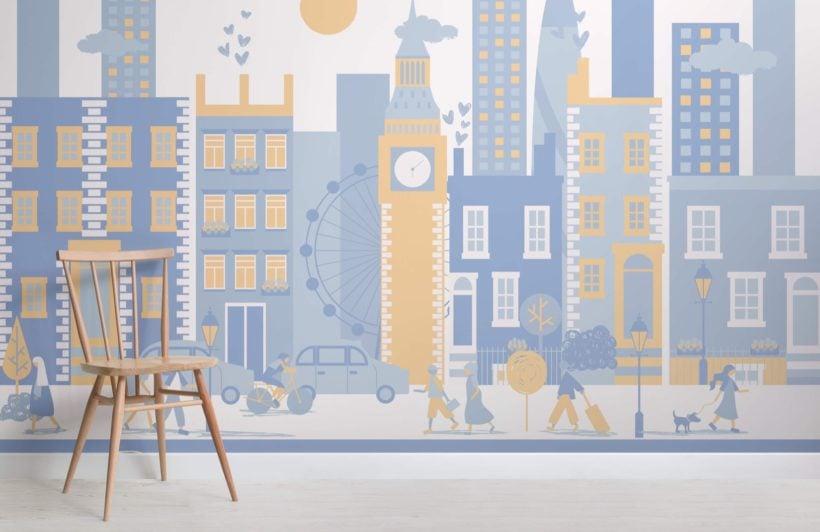 Blue London City Living Mural Wallpaper