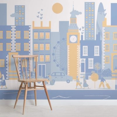 Blue London City Living Mural Wallpaper