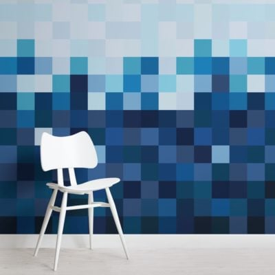 Blue Squares Pixel Style Ombre Wallpaper Mural