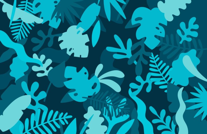 Blue Tropical Jungle Leaf Wallpaper Mural
