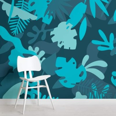 Blue Tropical Jungle Leaf Wallpaper Mural