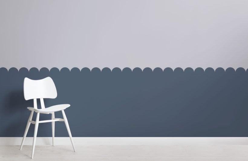 Blue Two Tone Patterned Geometric Wallpaper Mural