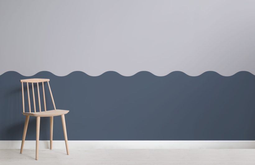 Blue Two Tone Wave Effect Geometric Wallpaper Mural