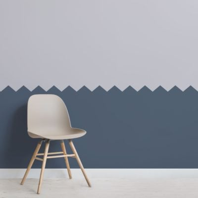 Blue Two Tone Zig Zag Geometric Wallpaper Mural