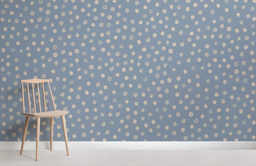 Blue Watercolour Polka Dot Wallpaper Mural