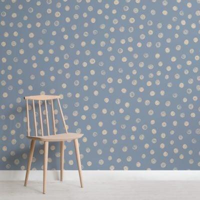 Blue Watercolour Polka Dot Wallpaper Mural