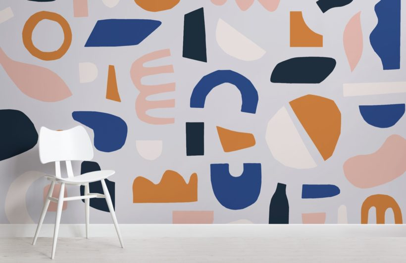 Blue and Brown Rustic Abstract Shapes Wallpaper Mural