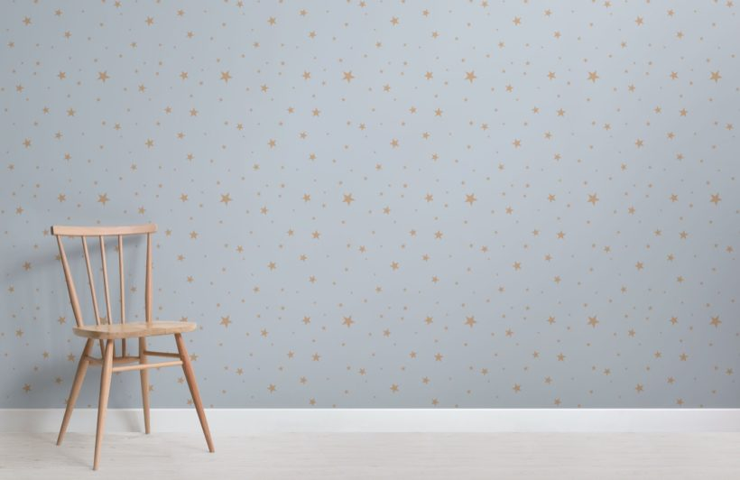 Blue and Gold Star Wallpaper Mural