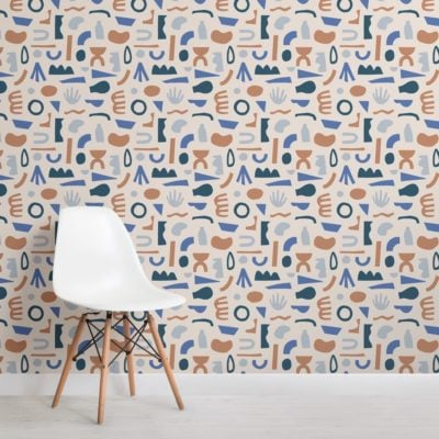 Blue and Neutral Abstract Shapes Pattern Wallpaper Mural