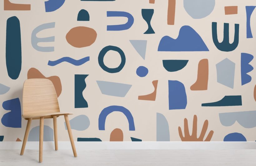 Blue and Neutral Abstract Shapes Wallpaper Mural