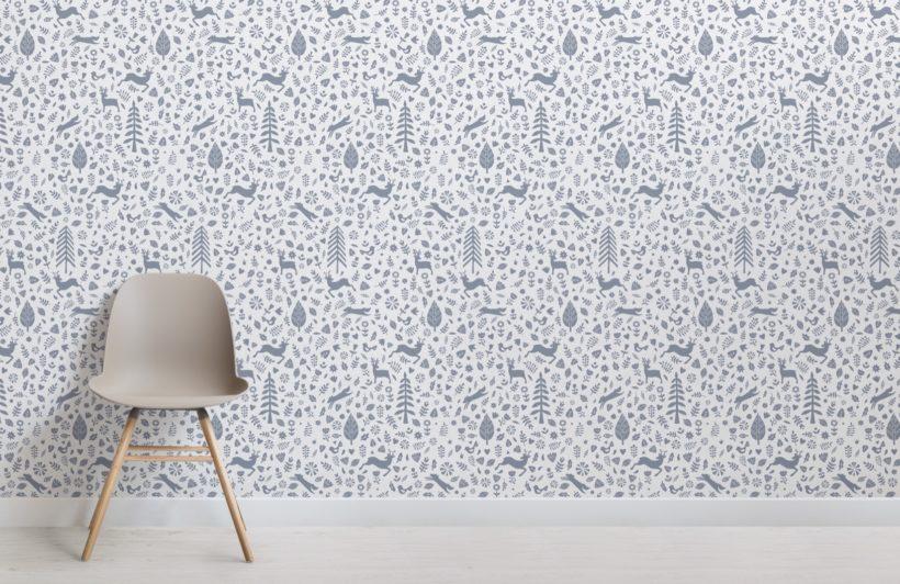 Blue and White Festive Pattern Scandinavian Folk Art Wallpaper Mural