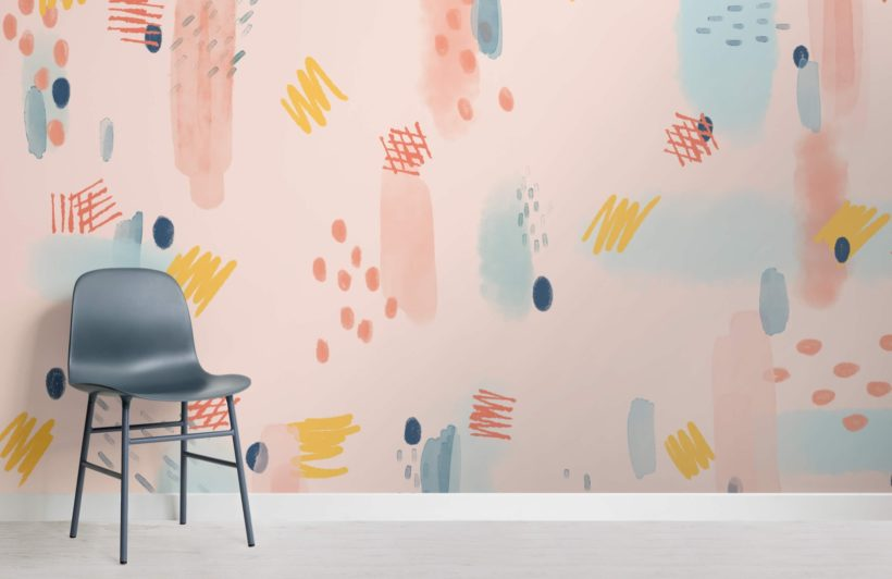 Blue and Pink Paint Brush Strokes Abstract Wallpaper Mural
