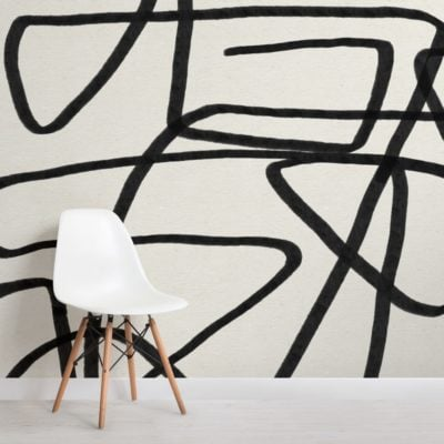 Bold-Black-and-Beige-Doodle-Abstract-Wallpaper-Mural