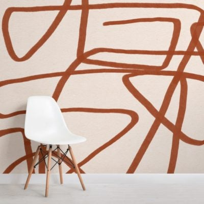 Bold-Terracotta-and-Beige-Doodle-Abstract-Wallpaper-Mural