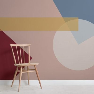 Bold geometric shapes modern bauhaus wallpaper mural