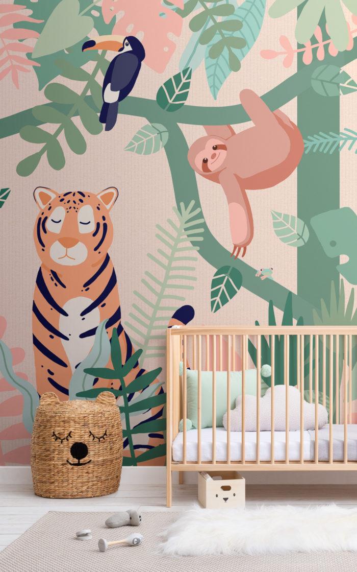 Buddies jungle wallpaper in neutral nursery