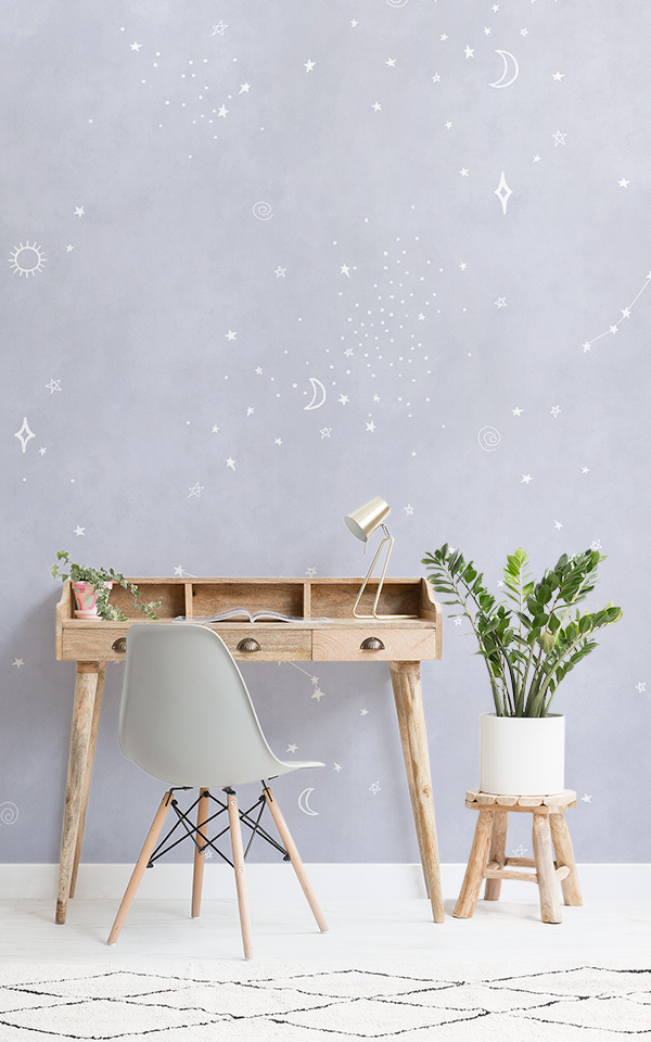 lilac and white constellation wallpaper