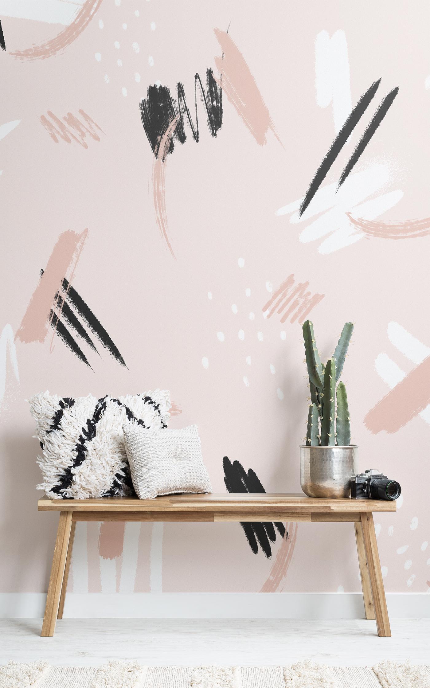pink paint brush strokes wallpaper