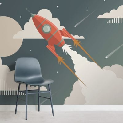 Children's Retro Space Rocket Wallpaper Mural