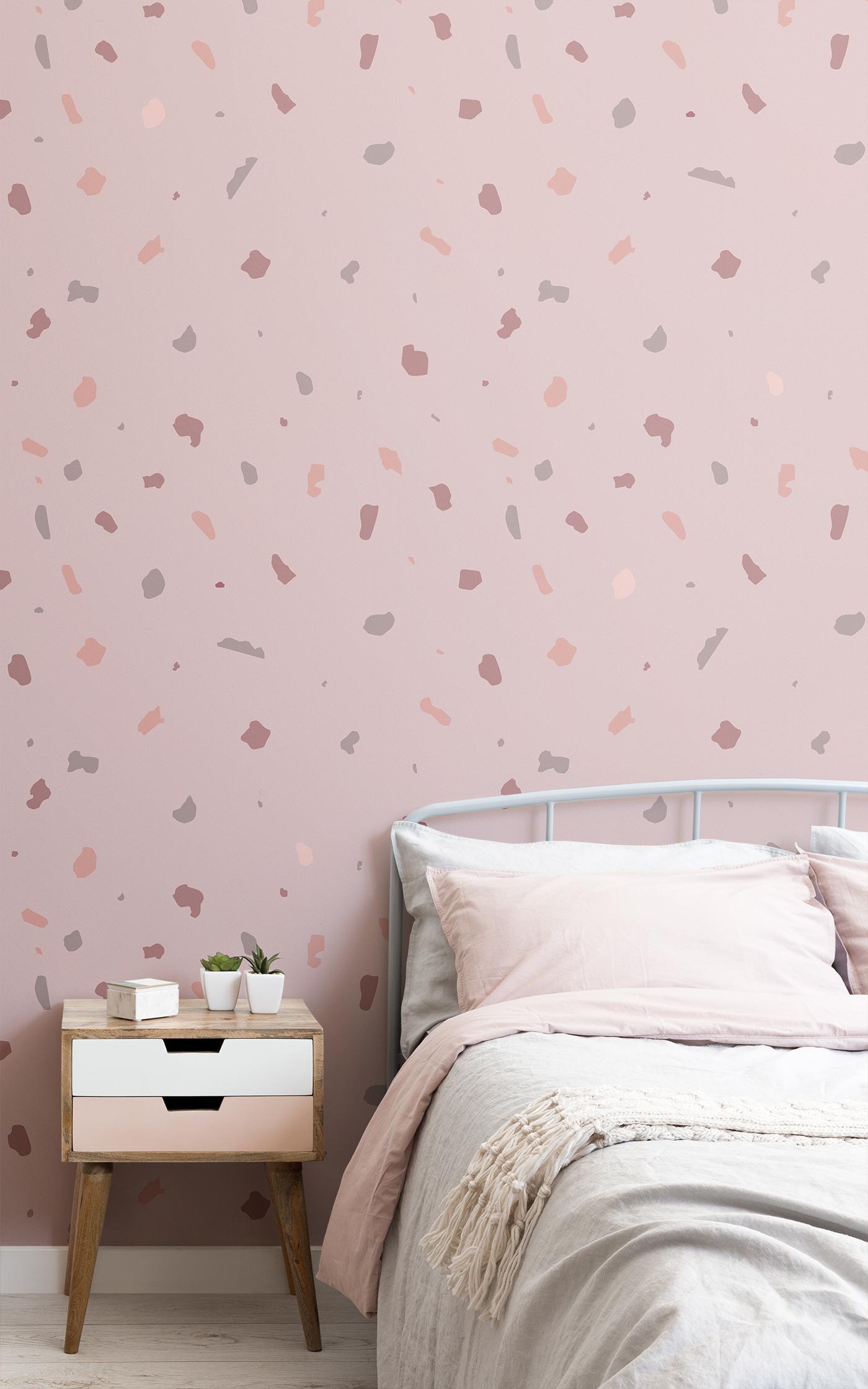 dusky pink terrazzo wallpaper
