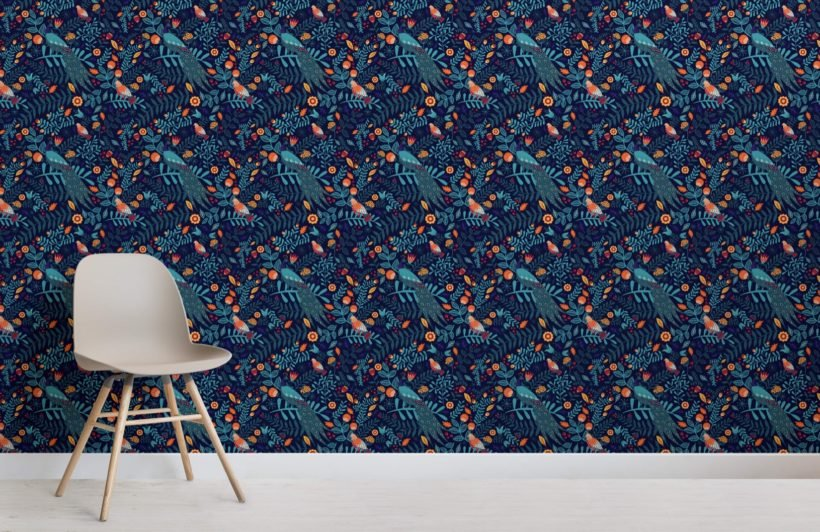 Colourful Birds Pattern Wallpaper Mural
