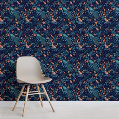 Colourful Birds Pattern Wallpaper Mural