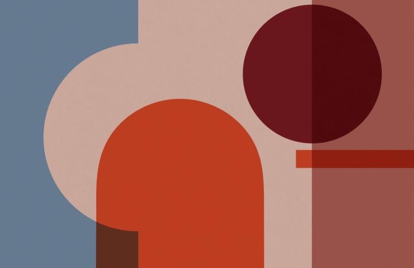 Colourful Geometric Shapes Modern Bauhaus Wallpaper Mural