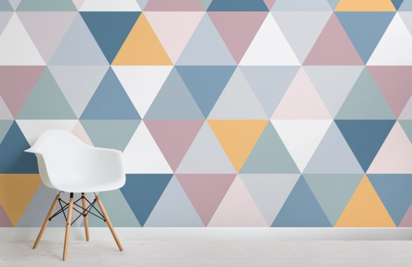 Colourful Geometric Triangle Pattern Wallpaper Mural