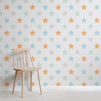 Colourful Medium Star Print Wallpaper Mural