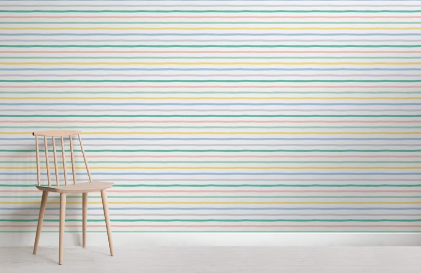 Colourful Striped Wallpaper Mural