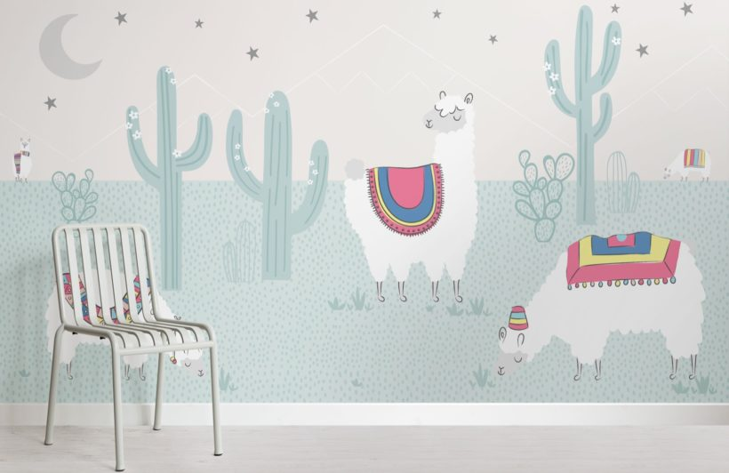 Cool Blue Exotic Llama Cactus Wallpaper Mural