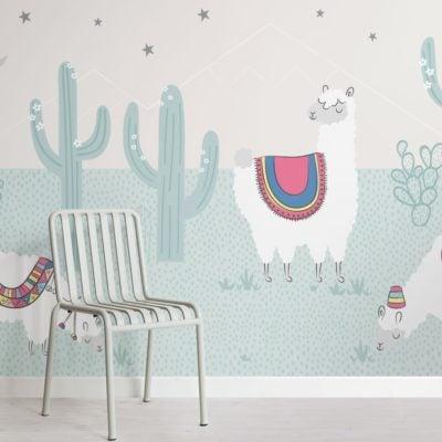 Cool Blue Exotic Llama Cactus Wallpaper Mural