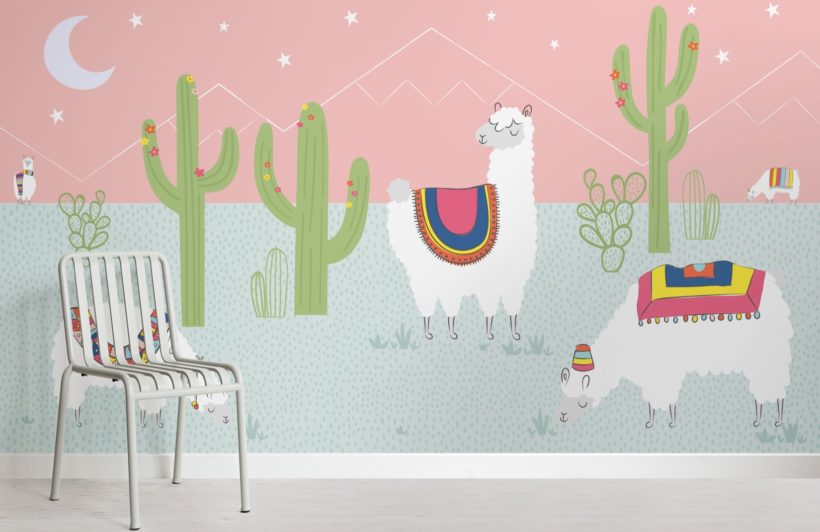 Cool Pink Exotic Llama Cactus Wallpaper Mural