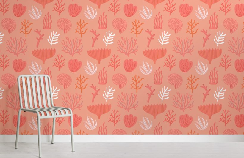 Coral Reef Pattern Wallpaper Mural-SquCoral Reef Pattern Wallpaper Mural