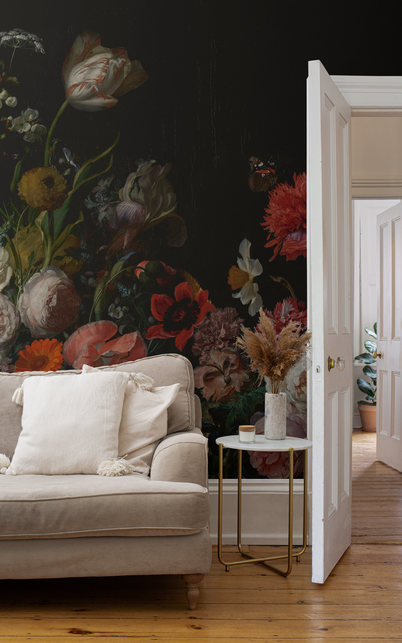 Cornelia dark floral mural in living room