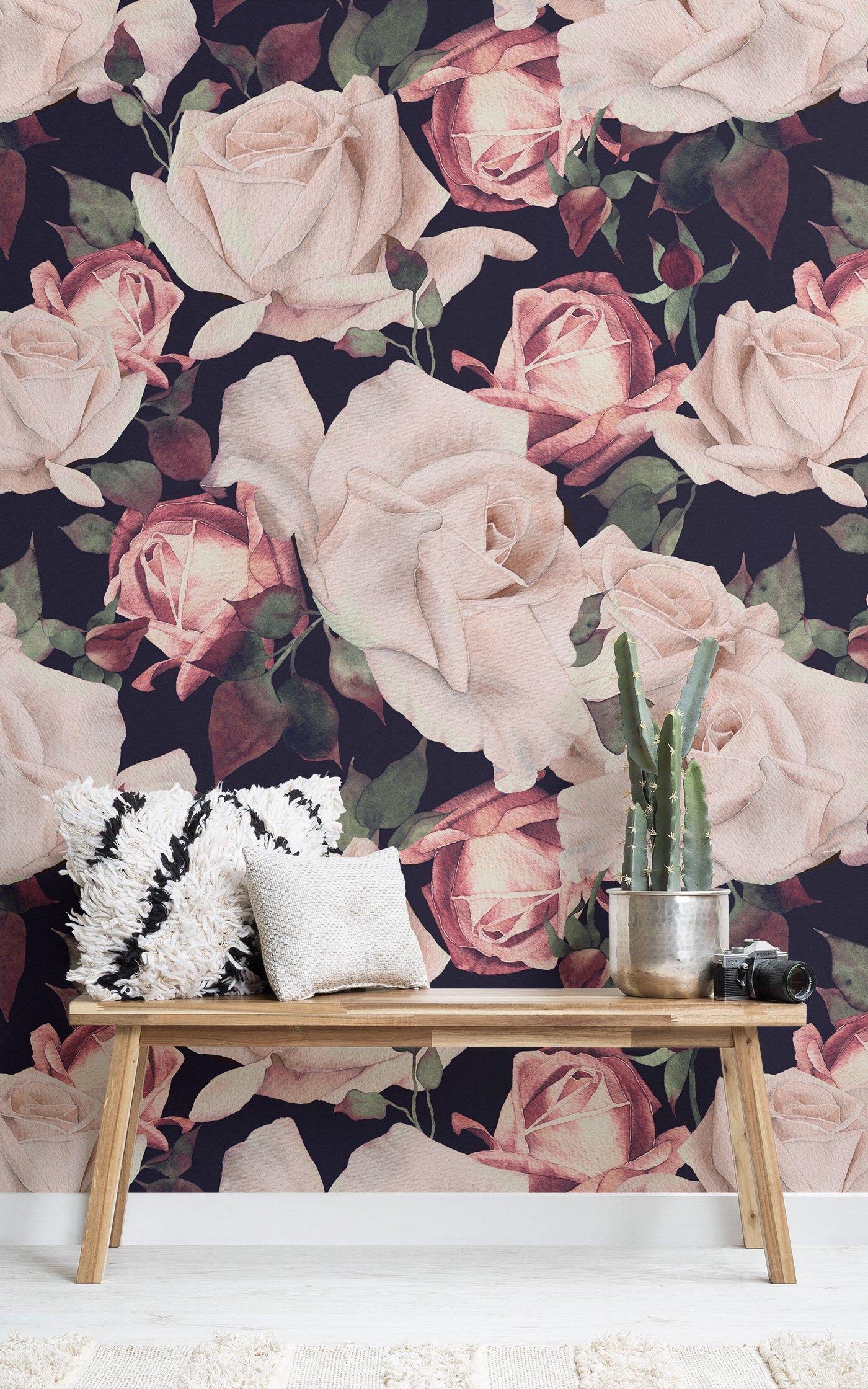 pink watercolor dark floral wallpaper