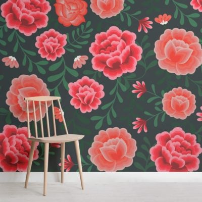 Frida Kahlo Floral Pattern Wallpaper Mural