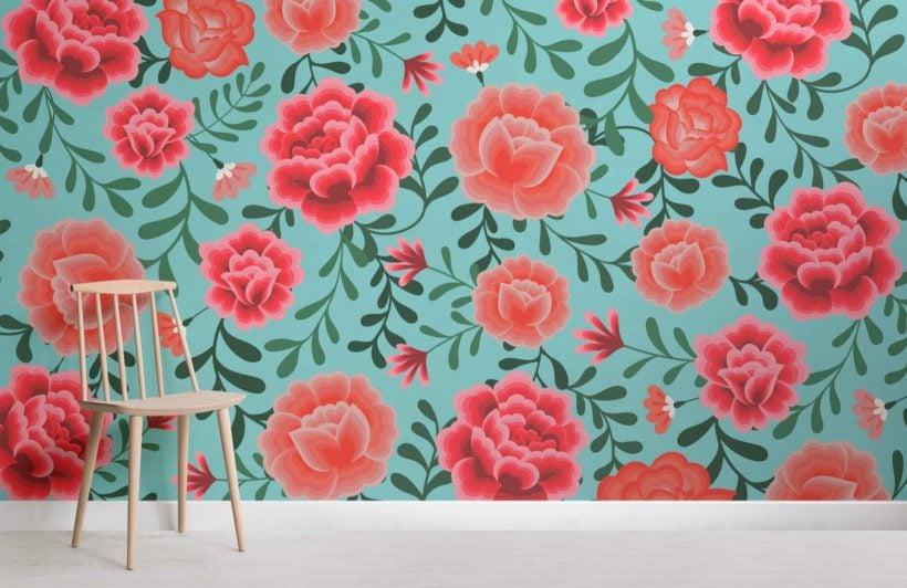 Blue Frida Kahlo Floral Pattern Wallpaper Mural
